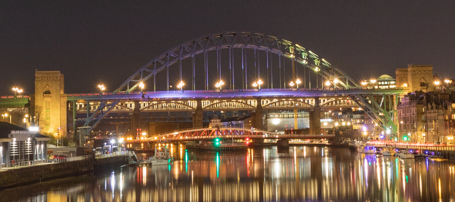 Light Trails & Night Photography in Newcastle Bridges at Night