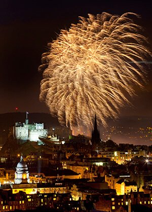 Fireworks over Edinburgh during Edinburgh Festival