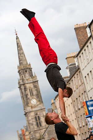 Edinburgh Festival acrobats on Royal mile